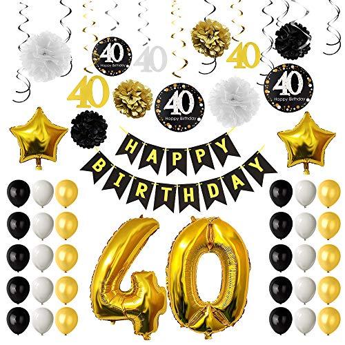 agsfeier-Dekorationen, 40. Geburtstags-Ballone, Papierpom-Poms, hängende Strudel, Goldfolien-Ballone Glückliche 40. Geburtstags-Dekorationen für Männer und Frauen ()