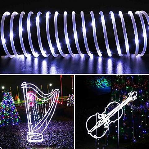 Qedertek Solar Lichterkette, Lichtschlauch, 100 LEDs, 12 m/39 ft, Wasserdicht, Dekoration für Weihnachten Garten Yard Weg Zaun Baum Hinterhof usw. (weiß)