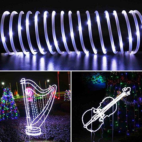 Qedertek Solar Lichterkette Weihnachten, Lichtschlauch, 100 LEDs, 12 m/39 ft, Wasserdicht, Dekoration für Weihnachten Garten Yard Weg Zaun Baum Hinterhof usw. (weiß)