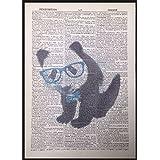 Bébé Panda Lunettes Nœud papillon page de dictionnaire vintage Décoration murale Tableau imprimé mignon
