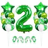 2 Globos de Cumpleaños, Globo 2 Año, Globo Numero 2, Decoracion Cumpleaños Niño, Globos Grandes Gigantes Helio Verde, Globos