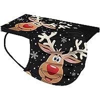10 Stück Weihnachten Einmal-Mundschutz, Einweg Schwarz Schneemann Elch Motiv Bunt Gedruckt Halstuch Mund und Nasenschutz…