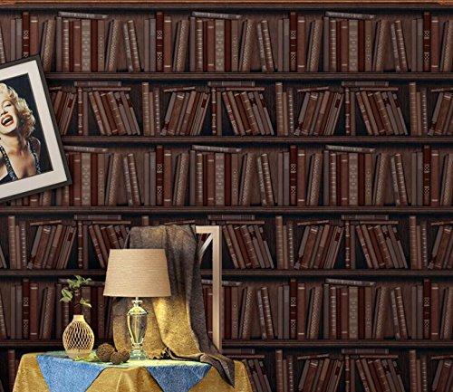 Yosot Bücherregal Braune Tapete Retro Hintergrund Tapete 3D Tapete Für Wohnzimmer-350cmx245cm