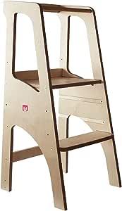 Bianconiglio Kids ® Evo 2020 all Natural Learning Tower in Legno Naturale, Regolabile con Bordi arrotondati