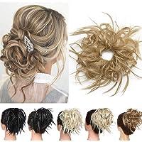 Silk-co Chignon Capelli Finti Posticci per Capelli con Elastico 45g Messy Hair Bun Updo Extension con Coda-Biondo Cenere