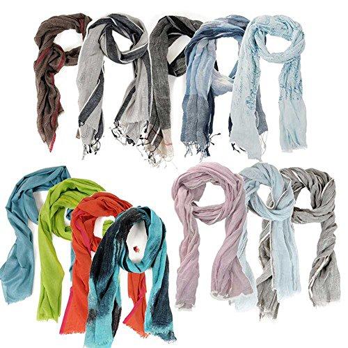 HINZE-Fashion ( SH10V ) Echarpe en cashemire, lin ou soie / laine, écharpe tendance pour femmess et hommes ( unisexe ), aussi appropriée pour l'hiver que pour l'été, tissus et tailles différents