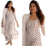 Women's White Cotton Printed Kurti With Pant and Dupatta Set