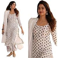 Jaipuri Fashionista Women's White Cotton Printed Kurti With Pant and Dupatta Set