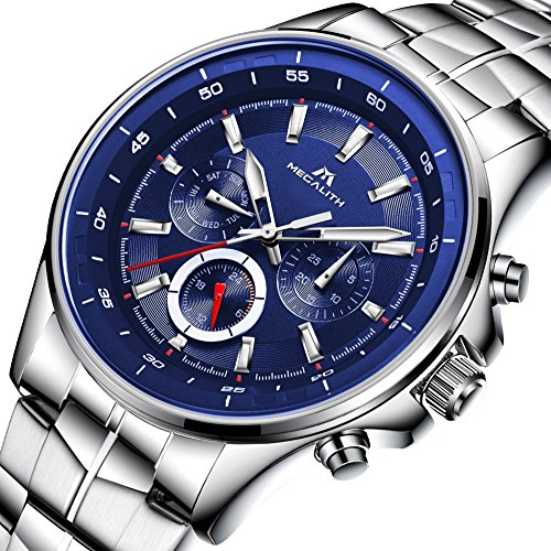 Mens-Stainless-Steel-Watches-Men-Luxury-Fashion-Dress-30M-Waterproof-Calendar-Date-Watches-Gents-Business-Casual-Analogue-Quartz-Wrist-Watch-with-Blue-Dial-Silver-Band