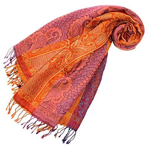 Lorenzo Cana - Luxus Damen Pashmina Schal Schaltuch aus weicher Wolle Paisley Muster bunt mehrfarbig 70 cm x 190 cm Wollschal Wolltuch Stola Umschlagtuch 78196