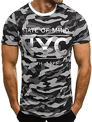 OZONEE Herren T-Shirt mit Motiv Kurzarm Rundhals Figurbetont J.STYLE SS124 SCHWARZ M