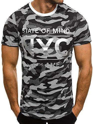 OZONEE Herren T-Shirt mit Motiv Kurzarm Rundhals Figurbetont J.STYLE SS029 Schwarz_J.STYLE-SS124
