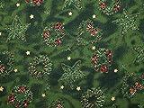 Metallic Weihnachten Kranz & Star Print Baumwolle Stoff