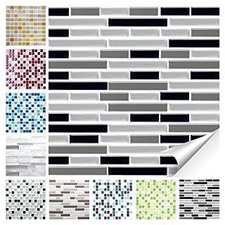 Wandora 1 Set Fliesenaufkleber 27,9 x 23,4 cm schwarz grau Silber Ziegel Design 31 I 3D Mosaik Fliesenfolie Küche Bad Aufkleber W1536