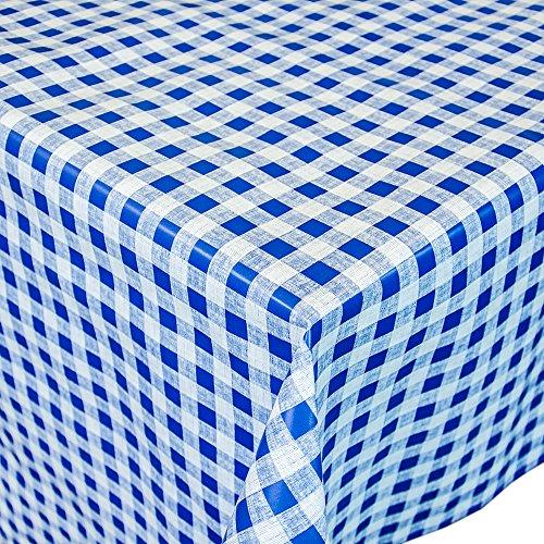 ANRO Toile cirée nappe nappe toile cirée lavable classique à carreaux en bleu rond 100 cm, Toile cirée, bleu, 120x140cm