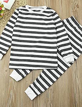 Weant Family Matching Christmas Pajamas Set Father Mother Newborn Kids Boy Girl Christmas Clothes Sets Striped Romper Jumpsuit Tops+ Pants (4 Years, Gray) 2
