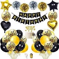 Decoraciones Fiesta Cumpleaños con Adorno Pastel Bricolaje, Pancarta de Feliz Cumpleaños, Borlas Brillantes, Globos de Confeti con Letras, Decoraciones únicas para los días 18th 21th 30th Cumpleaños