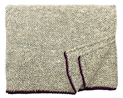 Eagle Products: Große beige-schwarze Seiden Wolldecke 15% Schurwolle-85% Seide, 160x200cm mit burgundvioletten Kanten (Seide Kanten Schwarze)