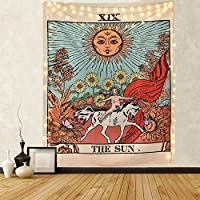 Amknn Tarot Wall Tapestry The Moon The Star and Sun Tapestry Medieval Europe Divination Tapestry Wall Hanging Decorations Mysterious For Bedroom Home Decor (Sun Tapestry, 150cmx130cm)
