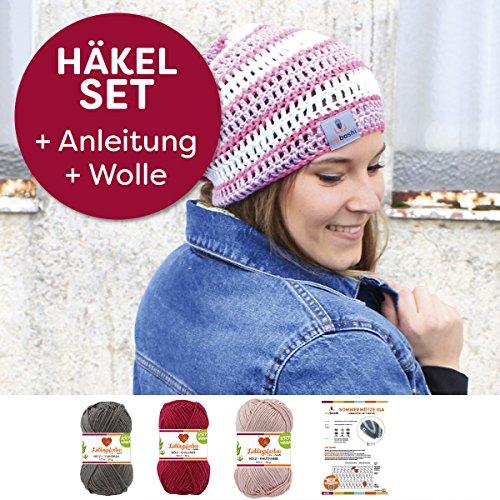 myboshi Mützen Häkelset Sommer Beanie Iga (85% Baumwolle 15% Kapok) Anleitung + Häkelgarn + selfmade Label Farben (titangrau, chillirot, hautfarbe, ohne Häkelnadel)