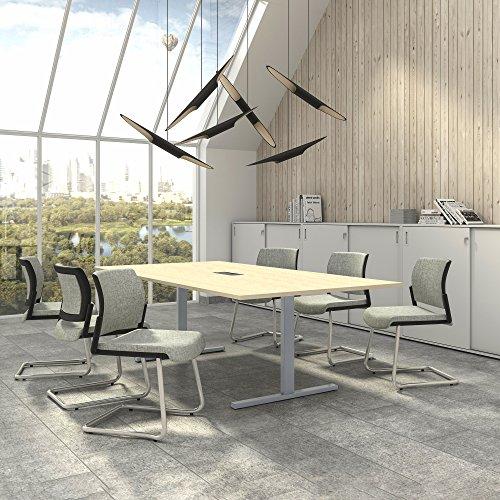 Weber Büro EASY Konferenztisch 240x120 cm Ahorn mit ELEKTRIFIZIERUNG Besprechungstisch Tisch, Gestellfarbe:Silber
