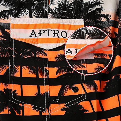 APTRO® Herren Slim Fit Freizeit Shorts Casual Mode Urlaub Strand-Shorts Sommer Kokosnuss Palmen Orange