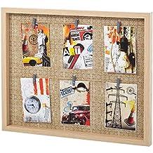 dcasa - Portafotos con pinzas múltiple industrial beige de madera para dormitorio Factory