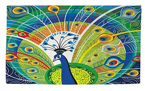 Manuelle holzverarbeiter & Weavers Dobby Bad Teppich, 4von druckknopfstiel, Pfau Gesicht in blau (Pfau Dekor Bad)