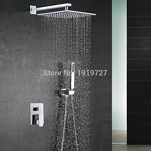 25,4 cm Pomme de douche de luxe à fixation murale carré Style Laiton Cascade Ensemble de douche directe d'usine Nouveau kit de pluie de douche de salle de bain