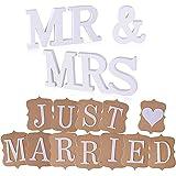 Bröllopspresent herr och fru träbokstäver skylt med banderoll bröllop hem fest rum dekoration present ( vit)