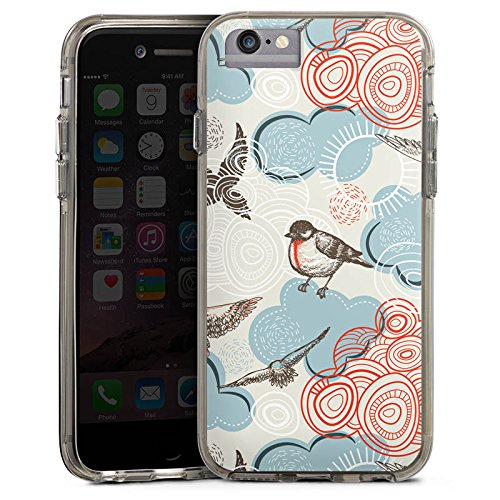 Apple iPhone 6s Bumper Hülle Bumper Case Glitzer Hülle Vogel Bird Pattern Bumper Case transparent grau