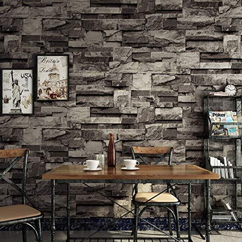 BZXJJ Tapete Vintage 3D Faux Bricks Tapetenrolle Industrial Loft Stones Tapeten, Dark Grey5.3㎡ -