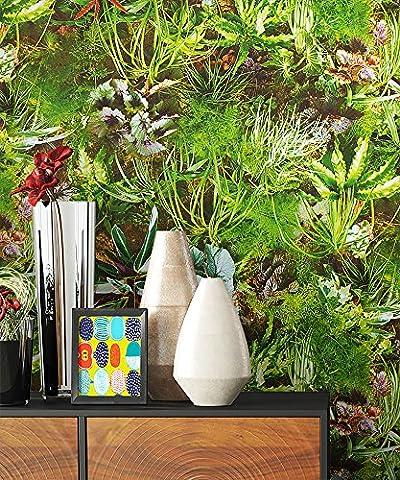 NEWROOM Tapete Grün Papiertapete Gelb Natur Natur schöne moderne und edle Design Optik , inklusive Tapezier Ratgeber