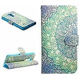 Dokpav® LG G3 Funda,Ultra Slim Delgado Flip PU Cuero Cover Case para LG G3 con Interiores Slip compartimentos para tarjetas-Flower bicolor
