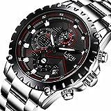 Herren Edelstahl Classic Luxus Casual Uhren mit Multifunktional Chronograph Sport Uhren wasserdicht Business Fashion Schwarz Quartz-Armbanduhr für Herren