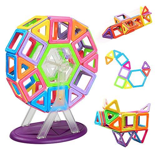 Costruzioni Magnetiche | Giocattolo Magnetico | InnooTech Blocchi Magnetici Educativi | 3D Puzzle Ruota Panoramica da 46 Pezzi Multicolore e Multiforme Perfetto per bambini oltre 3 anni