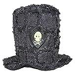 Foxxeo 35291 | Totenkopf Zylinder Vampir grau Erwachsene Vampirzylinder Halloweenhut Halloween Hut Totengräber Zylinderhut