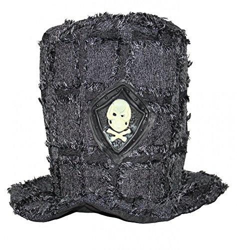 Foxxeo 35291 | Totenkopf Zylinder Vampir grau Erwachsene Vampirzylinder Halloweenhut Halloween Hut Totengräber ()