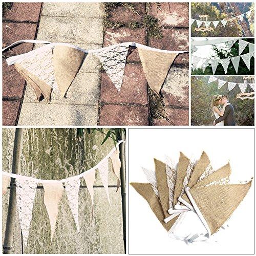 Vintage-Wimpelkette, 3m, Spitze, Leinen, rustikale Optik, für Hochzeit / Geburtstag / Garten-Dekorationen etc. ST 1