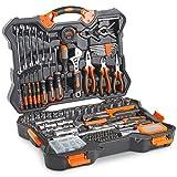 VonHaus 256 Teile Hochwertiges Handwerkzeug + Schlüsselsatz - Kombo-Werkzeugkit mit Werkzeugen mit satinierter Oberfläche und stabiler Aufbewahrungsbox - Ideal für Heimwerker, Werkstatt & Garage