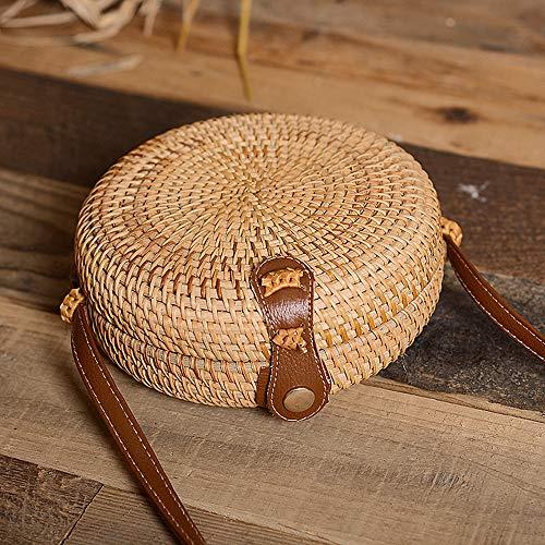 ZHUOHONG Rattan Bag - Runde/quadratische Sommer Stroh Tasche Holiday Messenger Bag für Frauen/Mädchen