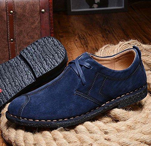 Pump Slip On Loafer Herren Retro Suede Schnürsenkel Lässige Leder Schuhe British Plate Schuhe Fahrschuhe Logging Schuhe Eu Größe 38-44 Blue