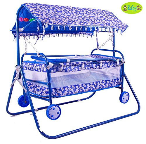 BabyGo Baby Cradle Cot Cum Stroller (Blue)