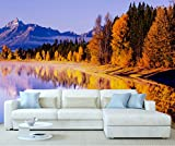 StickersWall Autumn Forest Mountain Lakeside Nature Landscape Scenery Wall Mural Photo Wallpaper Picture Self Adhesive 1027 ( 228cm(W) x 161cm(H))