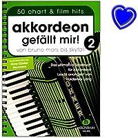 """Accordéon """"J'aime 2–de Bruno Mars à Skyfall–Le livre ultime Jeu pour accordéon, facile arrangés–Livre avec coloré Cœur Note Pince"""