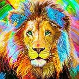 PanDaDa DIY Peinture par Numéro Tête de Lion Multicolore Yeux Vert Peinture en...
