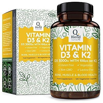 Vitamin D3 3,000 IU & Vitamin K2 MK7 | 120 Vegetarian Capsules | Vitamin D Source Cholecalciferol by Nutravita from Nutravita