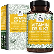 Vitamin D3 3,000 IU & Vitamin K2 100ug MK7 | Professionally Manufactured for Maximum Absorption | Vitamin D Supplement Source Cholecalciferol by Nutravita