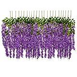 24 Stück künstliche Wisteria Ratta Fake Wisteria Girlande Seide Lange hängende Büsche Blumen Strang Home Party Hochzeit Decor Art Deco violett