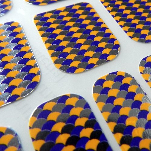 Chix Nails Nail Wraps Mosaic Yellow Purple Silver Designer Fingers Toes Vinyl Foils Minx Trendy Style